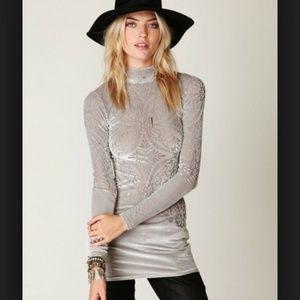 Free people velvet tunic dress le deux silver gray